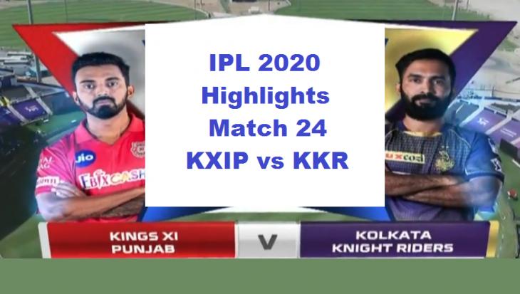 KXIP vs KKR Highlights