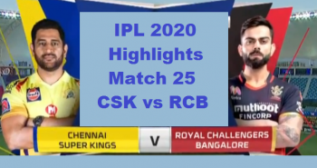 CSK Vs RCB Highlights Match 25 IPL 2020
