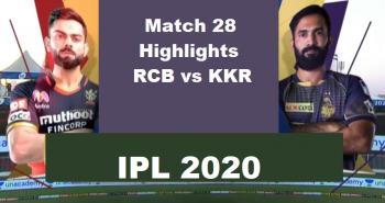 RCB Vs KKR Highlights Match 28 IPL 2020