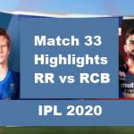 RR Vs RCB Highlights 2020