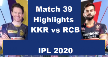 KKR Vs RCB Highlights 2020