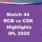RCB Vs CSK Highlights 2020