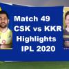 CSK Vs KKR Highlights 2020