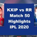 KXIP Vs RR Highlights 2020