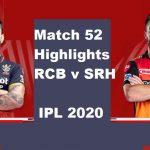 RCB Vs SRH Highlights 2020