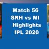 SRH Vs MI Highlights 2020