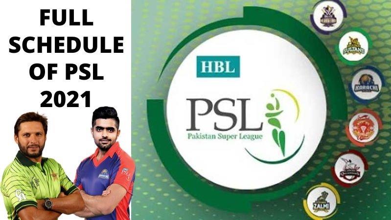 PSL 2021 or Pakistan Super League 2021 Schedule Teams Matches Prediction